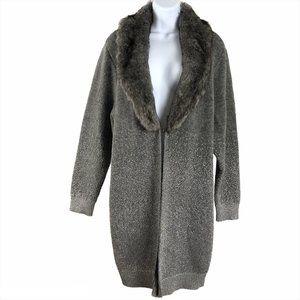 Chico's Cardigan Sweater Faux Fur Collar Metallic